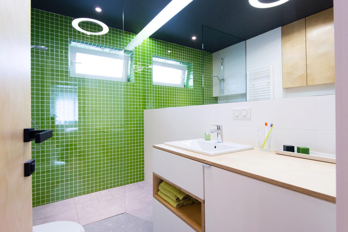 Badkamer Douche Plaatsen : Badkamer met groene accentmuur in mozaiek ...