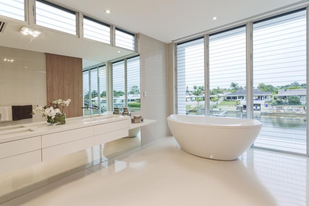 een gietvloer in de badkamer: inspiratie en informatie, Badkamer