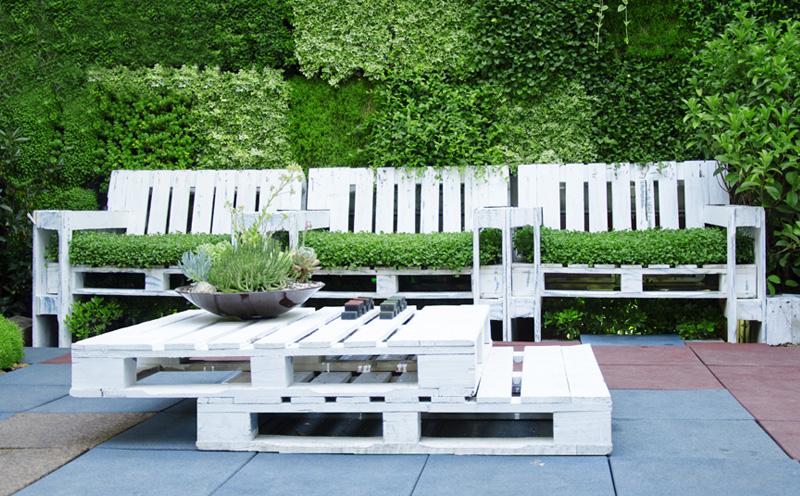 Salontafel van palet inspiratie voorbeelden for Zen terras layouts