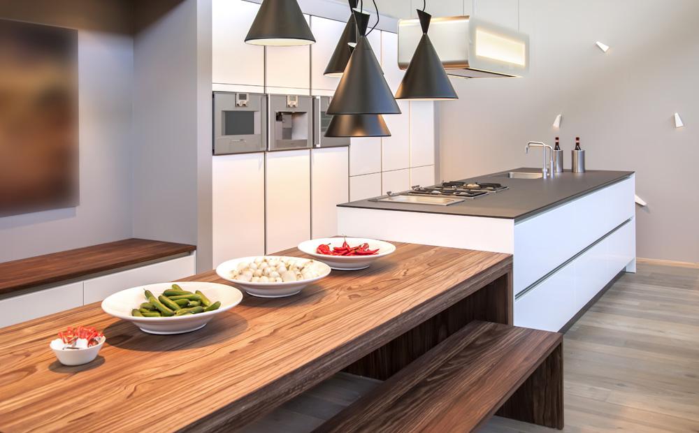 Keuken met lange eettafel great industriele keukenlamp loftdeur