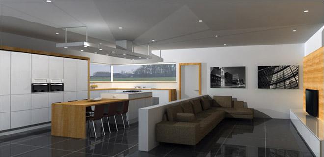 Open half open of gesloten keuken kiezen - Lounge en keuken in dezelfde kamer ...