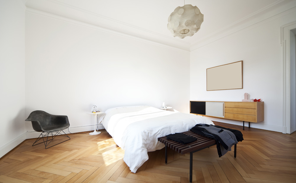 witte kamer met parket - Plafond Behang