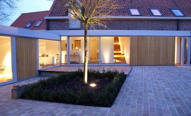 Boerderij renovatie moderne hoeve met landelijke inrichting - Interieur van een veranda ...