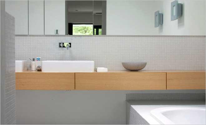 Moderne villa inrichting door d o o s interieur vormgeving - Moderne badkamer tegelvloeren ...
