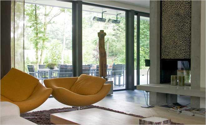 Moderne villa inrichting door d o o s interieur vormgeving for Gordijnen modern