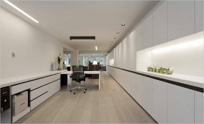 Bank en verzekeringskantoor inrichting met modern interieur for Interieur verlichting