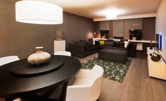 stijlvol appartement met open keuken en moderne woonkamer, Meubels Ideeën