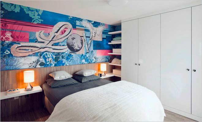 Modern appartement met hip behang interieurdesigner - Trendy slaapkamer ...