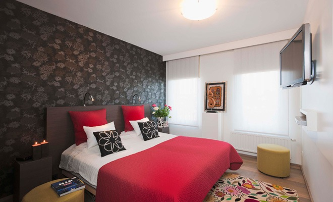 Stijlvol appartement met open keuken en moderne woonkamer - Decoratie voor slaapkamer ...