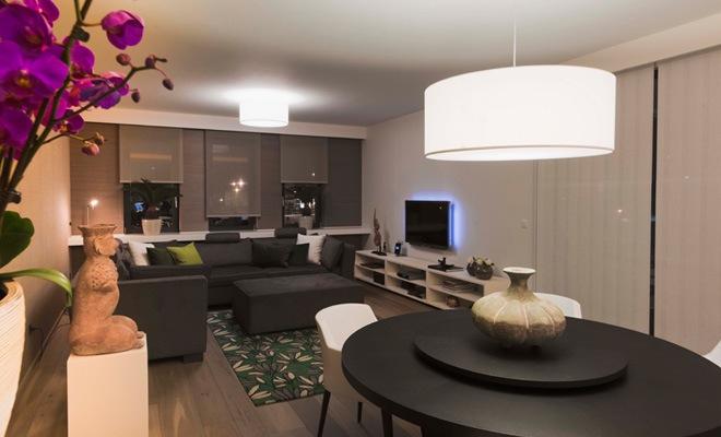 Stijlvol appartement met open keuken en moderne woonkamer - Appartement moderne design retro widawscy ...