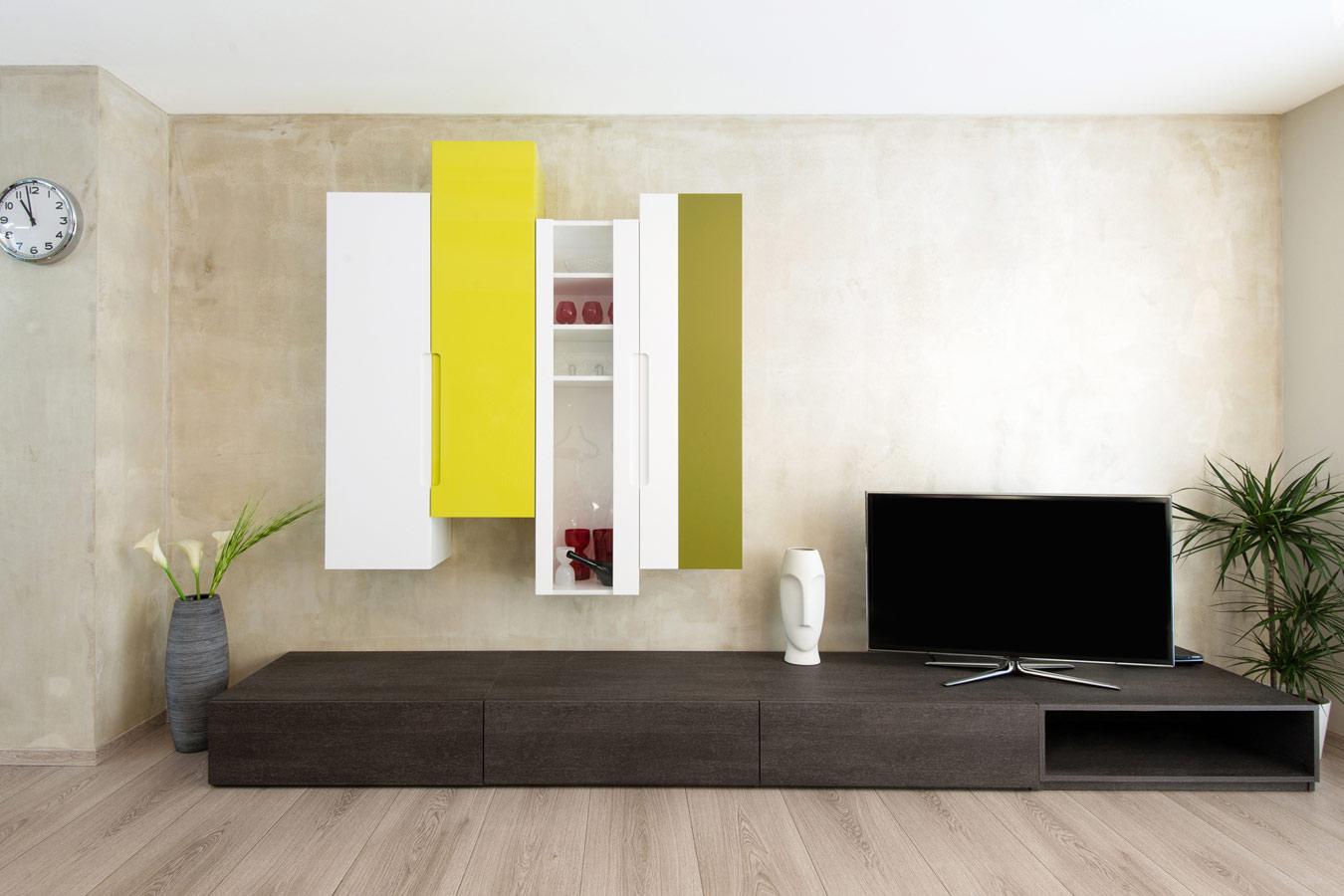 Woonkamer Configurator : Laag tv-meubel op maat in hout in combinatie ...