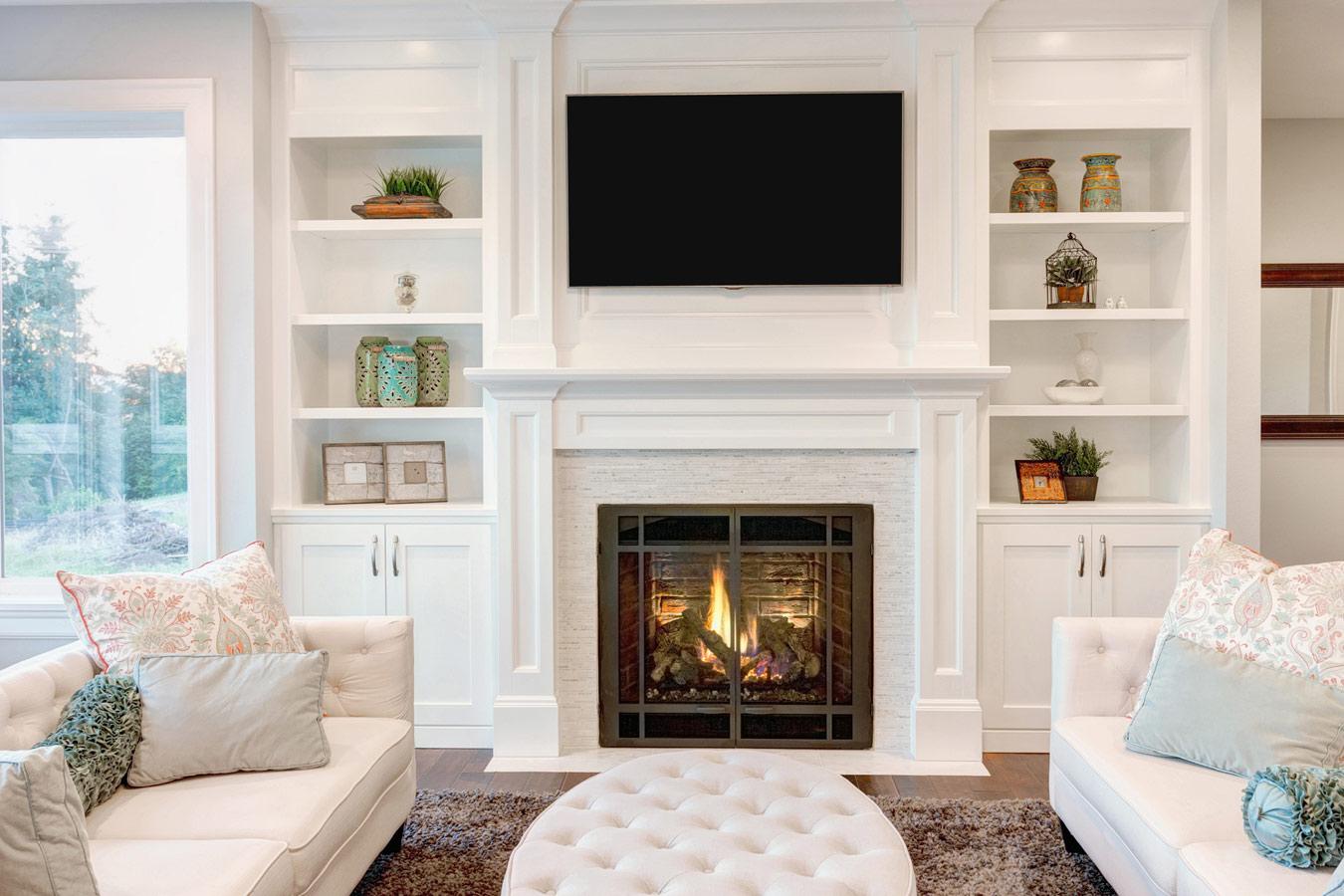 Wit tv-meubel op maat - landelijk interieur