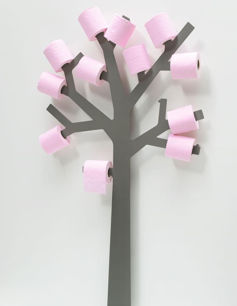 Originele wc rolhouder in de vorm van een boom must have - Deco wc grijs ...