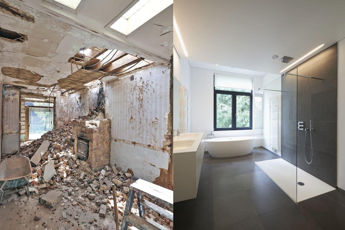 Installatie badkamer voor en na